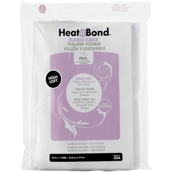 "Heat'n Bond Iron-On Fusible Fleece High Loft-White 22""X36"""