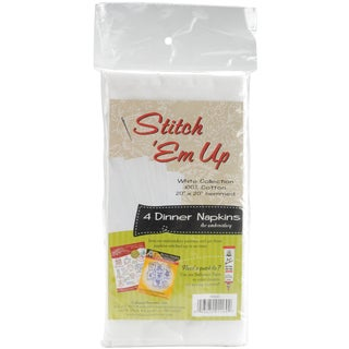 Stitch 'em Up Dinner Napkins For Embroidery 4/Pkg-White