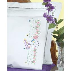 Stamped Pillowcases With White Perle Edge 2/Pkg-Sunbonnet Garden Girl