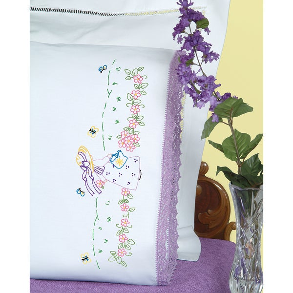 Stamped Pillowcases With Hemstitched Edge 2/Pkg-Sunbonnet Garden Girl