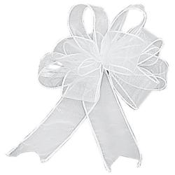 Organza Bows Pull-N-Fluff 10IN 12/Pkg-White