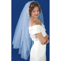 Rolled Edge Double Layer Veil 31X38X72IN-White