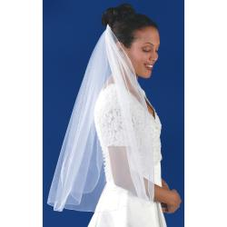 Rolled Edge Single Layer Bridal Veil 31X54IN-White