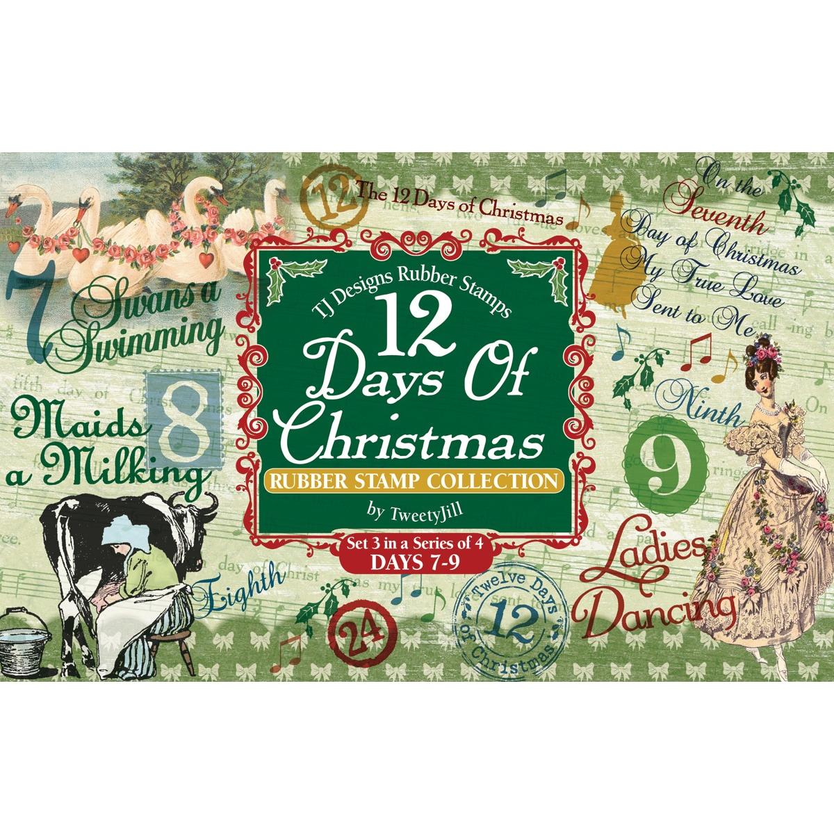Rubber Stamp Set-12 Days Of Christmas Set 3 Days 7-9