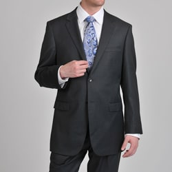 Prontomoda Europa Men's 'Super 140' Charcoal Natural Wool Suit
