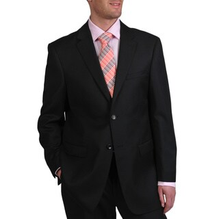 Prontomoda Europa Men's 'Super 140' Black Wool Suit