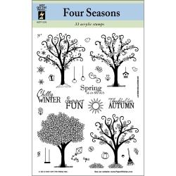 "Hot Off The Press Acrylic Stamps 6""X8"" Sheet-Four Seasons Trees"