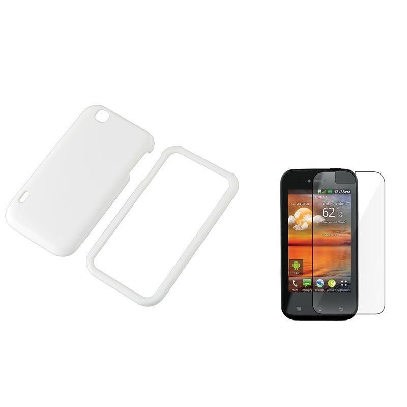 White Rubber Case/ Screen Protector for LG MyTouch