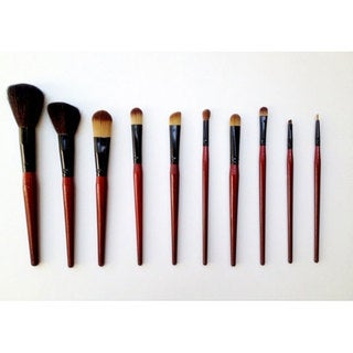 Fortuna 10-piece Red Pony, Goat & Talkon Hair Makeup Brush Set