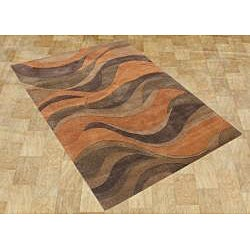 Alliyah Handmade Caramel, Autumn Leaf, Chipmunk, Brown, and Rust New Zealand Blend Wool Rug (5' x 8')
