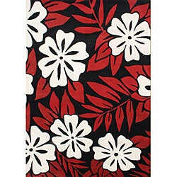 Handmade Sabrina Poppy Red New Zealand Blend Wool Rug (8' x 10')