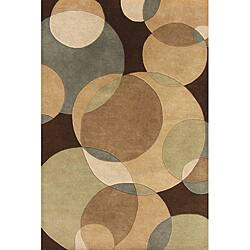 Hand-Made Tufted Metro Circles Brown Wool Rug (9' x 12')