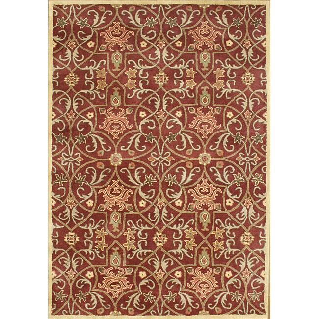 Alliyah Handmade Burgundy New Zealand Blend Wool Rug (6' x 9')