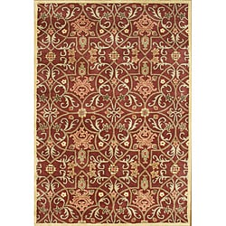 Alliyah Handmade Burgundy New Zealand Blend Wool Rug (6' x 9')