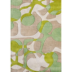 Alliyah Handmade Lime Green New Zealand Blend Wool Rug (9' x 12')