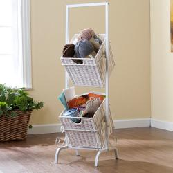 Burnet White 2-tier Basket Storage