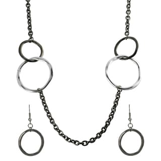 Journee Collection Rhodium Silvertone Circles Necklace/ Earring Set