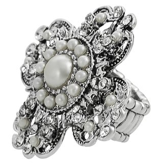 Journee Collection Silvertone Vintage Crystal Faux Pearl Stretch Ring
