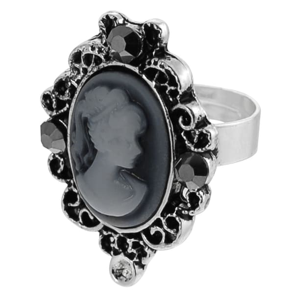 Journee Collection Silvertone Crystal Filigree Border Cameo Ring