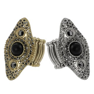 Journee Collection Vintage Grey Rhinestone Bead Stretch Ring