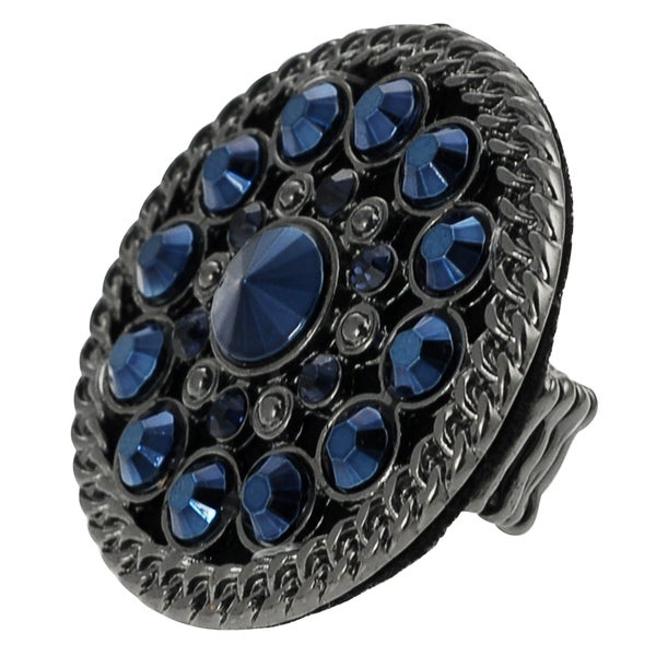 Journee Collection Rhodium Blue Rhinestone Vintage Stretch Ring