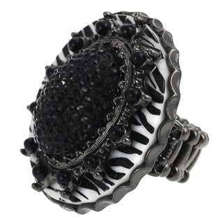 Journee Collection Rhodium Black Rhinestone Zebra Print Stretch Ring