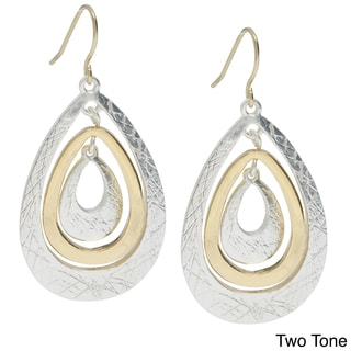 Alexa Starr Goldtone Etched Teardrop Earrings