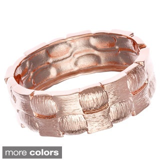 Alexa Starr Silvertone Etched Checkered Hinged Bangle Bracelet
