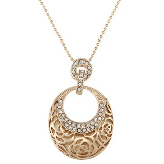 Alexa Starr Goldtone Rose Design Oval Necklace
