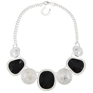 Alexa Starr Silvertone Black Glass Stone Bib Necklace
