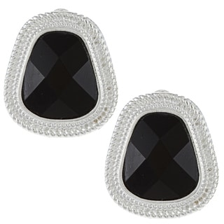 Alexa Starr Silvertone Faceted Black Glass Clip-on Earrings