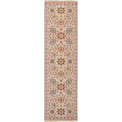 Hand-knotted Ivory Paisley Floral Sonmiac New Zealand Wool Rug (2'6 x 10')