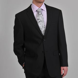 Montefino Mondo Men's 'Super 120 Merino' Black Wool Suit