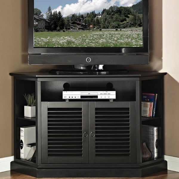 52 in. Black Wood Corner TV Stand