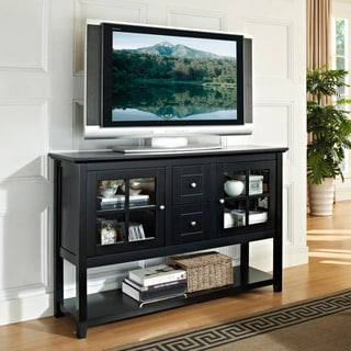 Black 52-inch Wood Console Table TV Stand