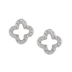 Miadora 10k White Gold 1/8ct TDW Diamond Flower Earrings (H-I, I2-I3)