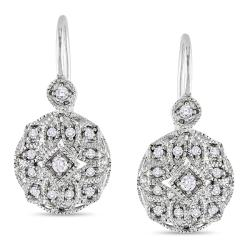 Miadora 10k White Gold 1/8 CT TDW Diamond Leverback Earrings (G-H, I1)