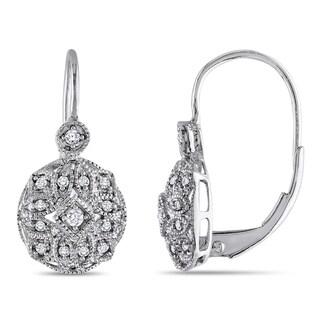 Miadora 10k White Gold 1/8 CT TDW Diamond Leverback Earrings (G-H, I1)