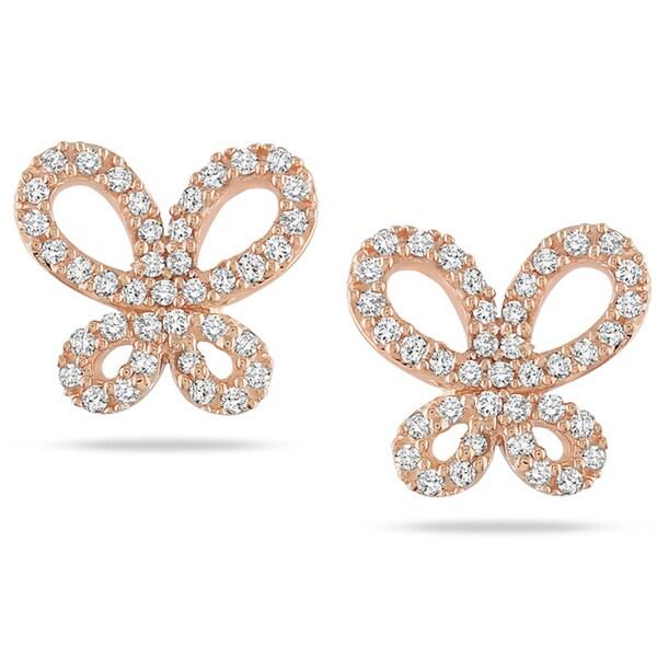 Miadora 10k Rose Gold 1/4 CT TDW Diamond Butterfly Earrings (G-H, I1-I2)