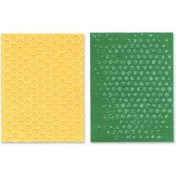 Sizzix Texture Fades Embossing Folders By Tim Holtz 2/Pkg-Bubble & Honeycomb