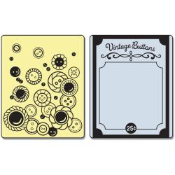 Sizzix Textured Impressions Embossing Folders 2/Pkg-Vintage Buttons