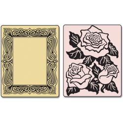 Sizzix Textured Impressions Embossing Folders 2/Pkg-Roses & Frame