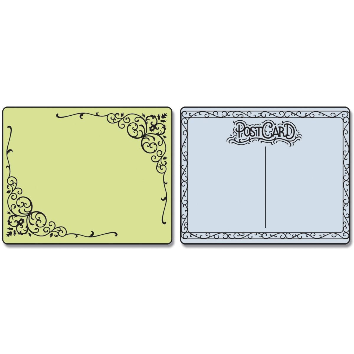 Sizzix Textured Impressions Embossing Folders 2/Pkg-Flourish & Postcard