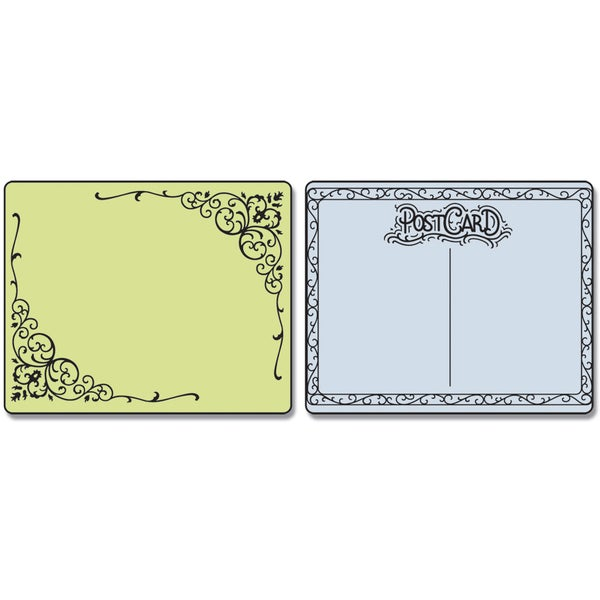Sizzix Textured Impressions Embossing Folders 2/Pkg-Flourish & Postcard