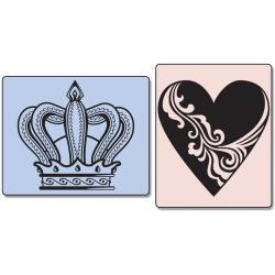 Sizzix Textured Impressions Embossing Folders 2/Pkg-Crown & Heart