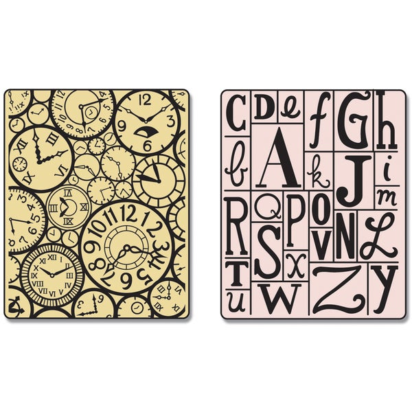 Sizzix Textured Impressions Embossing Folders 2/Pkg-Clocks & Print Blocks