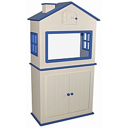 Dollhouse-shaped White-and-blue 29-Gallon MDF Aquarium Stand