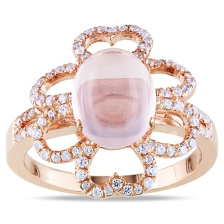 Miadora Pink-plated Silver 4 1/2ct TGW Rose Quartz and Cubic Zirconia Fashion Ring
