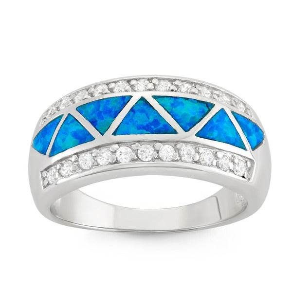 La Preciosa Sterling Silver Created Blue Opal and CZ Ring