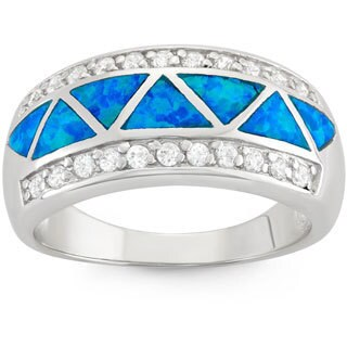 La Preciosa Sterling Silver Created Blue Opal and CZ Ring
